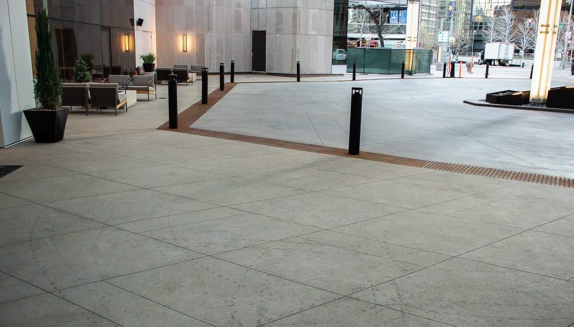 Porte-Cochere at Sheraton Hotel in Downtown Denver decorative concrete.
