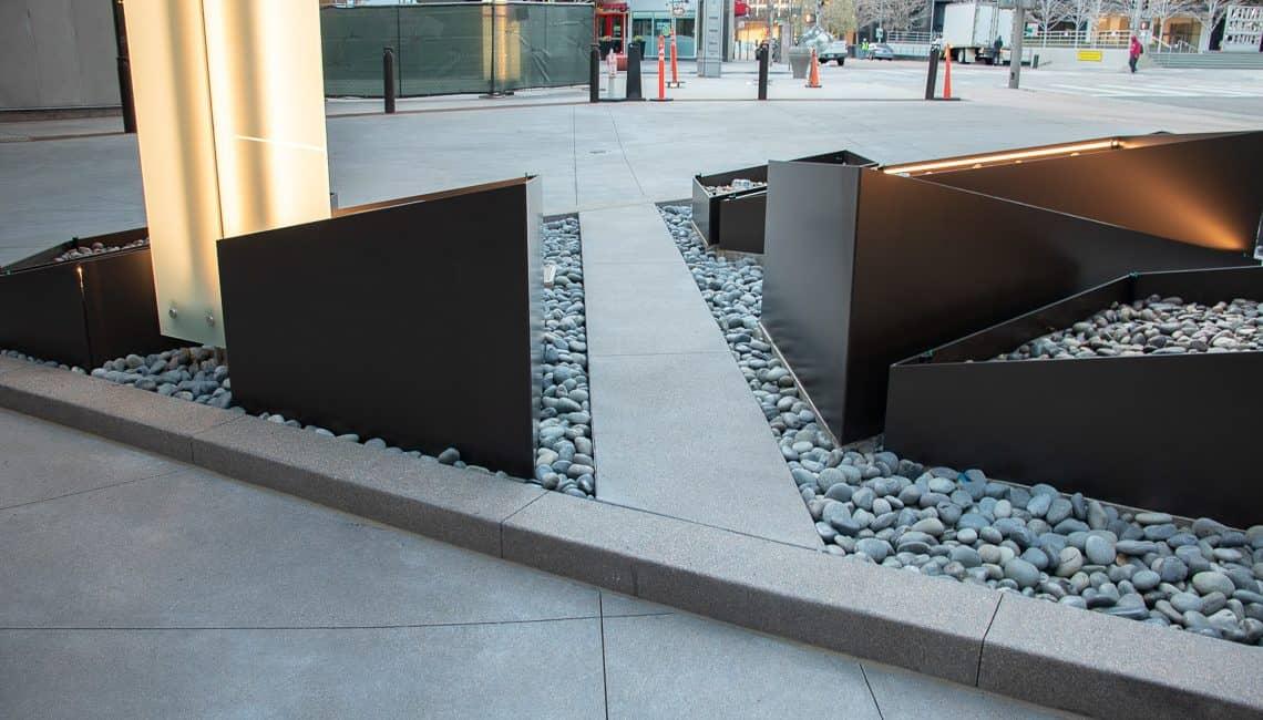 Porte-Cochere centerpiece at Sheraton Hotel in Downtown Denver decorative concrete.