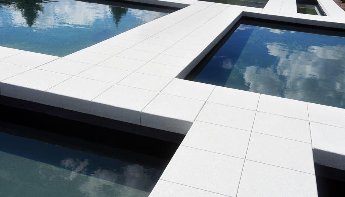 USAFA Air Gardens reflecting pools and bridges.