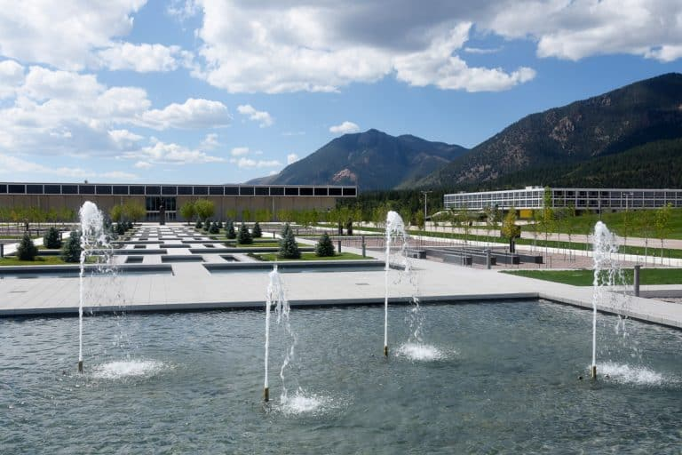 USAFA Air Gardens North Pool and water fountains.