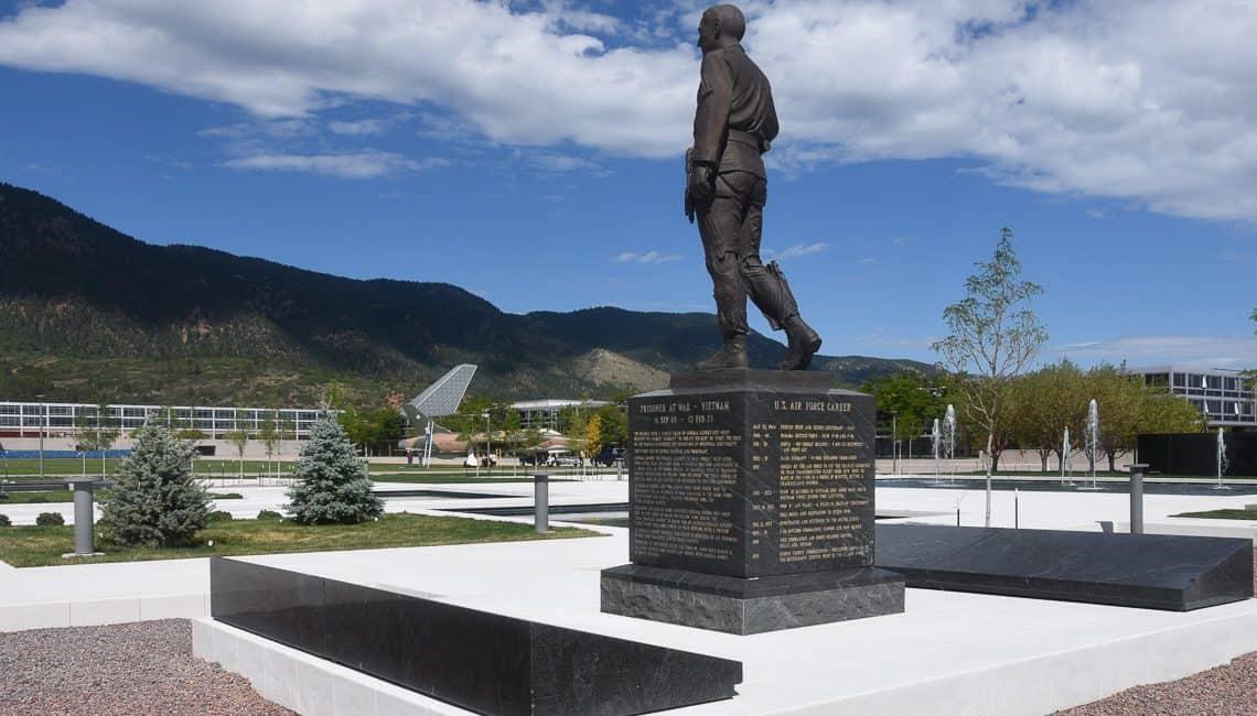 USAFA memorial on white bonded topping mix flatwork.