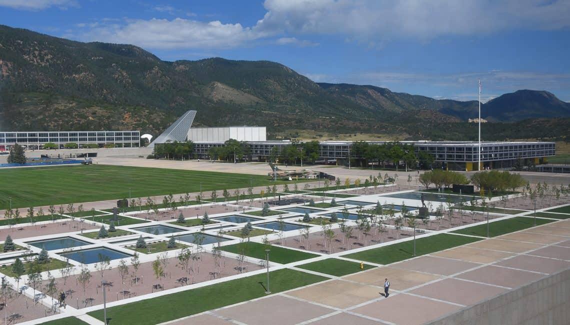 USAFA Air Gardens overhead view of entire Air Gardens.