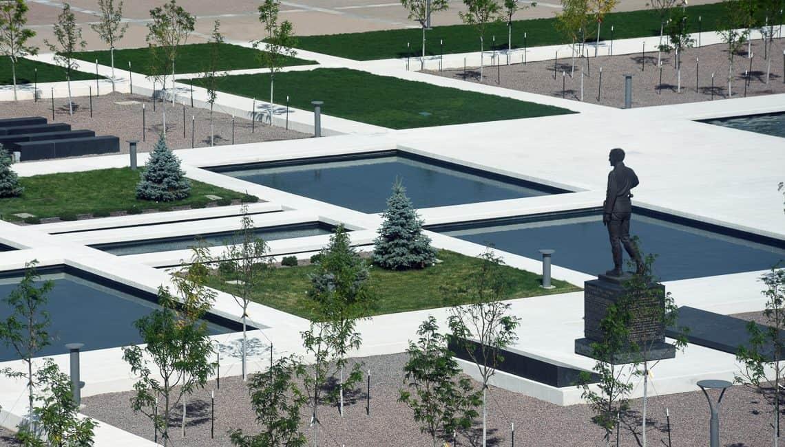USAFA Air Gardens overhead shot of memorial, pools, and flatwork.